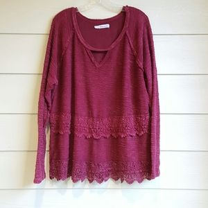 Maurices Maroon  Boho Knit Sweater Lace Hem 3X